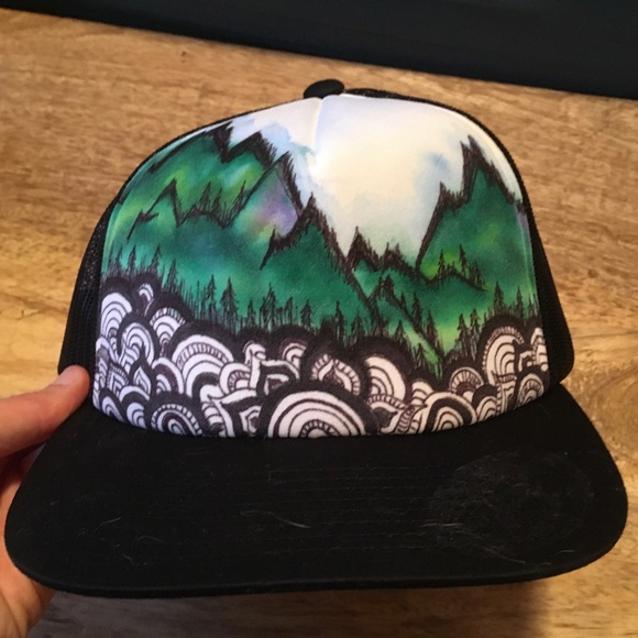 Other - Hand-painted mountain trucker hat